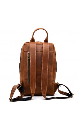 Рыжий кожаный женский рюкзак из винтажной кожи Tarwa RB-2008-3md