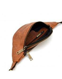 Рыжая кожаная небольшая сумка на пояс Tarwa RB-3034-3md
