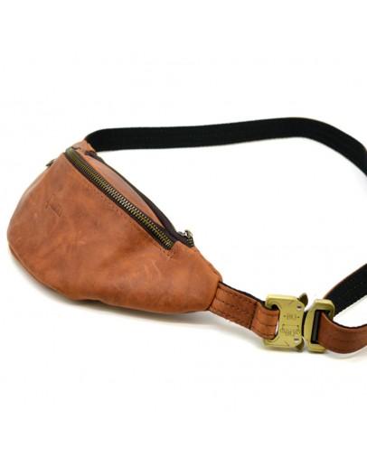 Фотография Рыжая кожаная небольшая сумка на пояс Tarwa RB-3034-3md