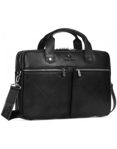 Фотография Черная мужская кожаная деловая удобная сумка Royal Rb012A-2