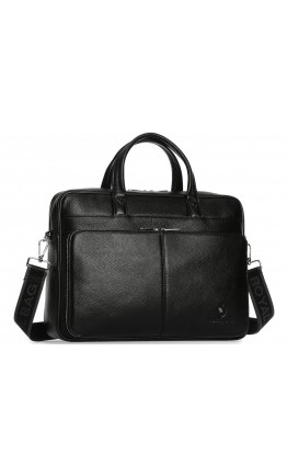 Мужская черная кожаная деловая сумка Royal RB50101