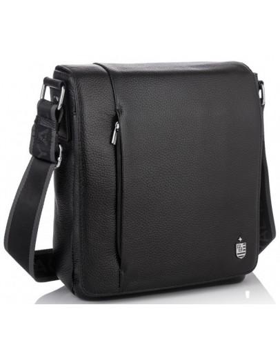 Фотография Кожаная плечевая мужская сумка черная Royal RB70011