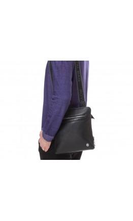 Черная мужская сумка через плечо кожаная Royal RB70081