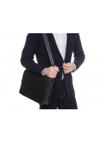 Черная сумка мужская кожаная на плечо Royal RB70121