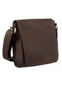 Коричневая кожаная сумка на плечо c клапаном Tarwa RC-30271-3md