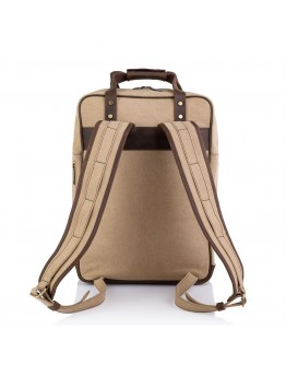 Рюкзак коричневого цвета из натуральной кожи и ткани Tarwa RC-3943-4lx