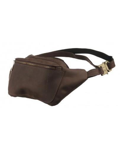 Фотография Кожаная коричневая винтажная мужская сумка на пояс Tarwa RC-3012-3md