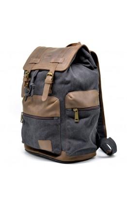 Серый вместительный тканево-кожаный рюкзак Tarwa RG-0010-4lx