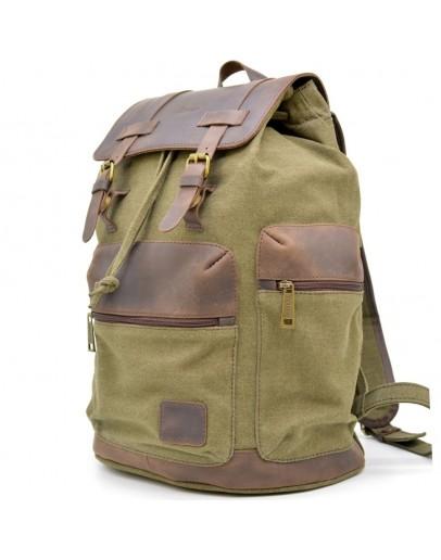 Фотография Вместительный тканево-кожаный рюкзак цвета хаки Tarwa RH-0010-4lx