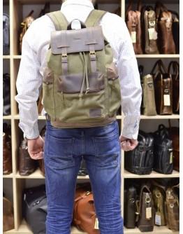 Вместительный тканево-кожаный рюкзак цвета хаки Tarwa RH-0010-4lx