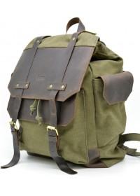 Большой мужской тканево - кожаный рюкзак цвета хаки Tarwa RH-6680-4lx