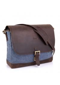 Большая синяя мужская сумка на плечо кожа+ткань Tarwa RK-1809-4lx