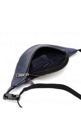 Синяя кожаная небольшая сумка на пояс Tarwa RK-3034-3md