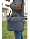 Фотография Синяя мужская кожаная сумка для ноутбука винтажная RKK-1812-4lx