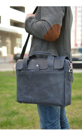 Синяя мужская кожаная сумка для ноутбука винтажная RKK-1812-4lx