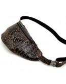 Фотография Мужская напоясная коричневая кожаная сумкас тиснением Tarwa RP2-3036-3md
