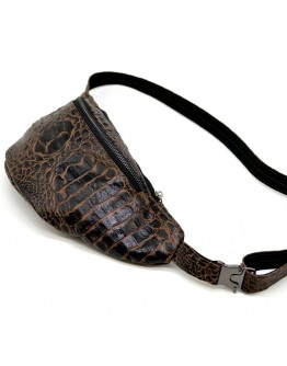 Мужская напоясная коричневая кожаная сумкас тиснением Tarwa RP2-3036-3md