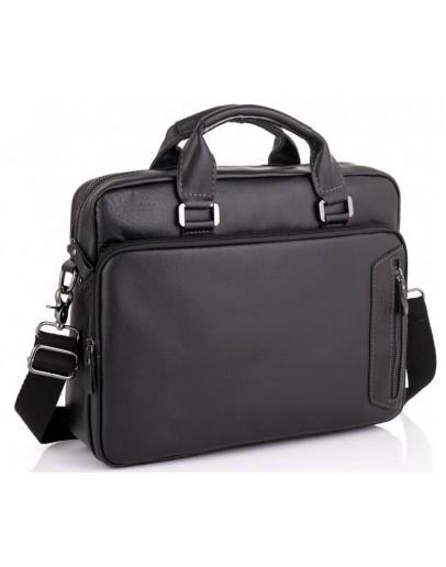 Фотография Черная кожаная сумка для небольшого ноутбука RR-4011A