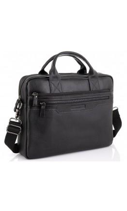 Мужская черная кожаная деловая сумка Allan Marco RR-4100A