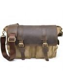 Фотография Мужская коричневая сумка на плечо из кожи и канваса Tarwa RSc-6690-4lx