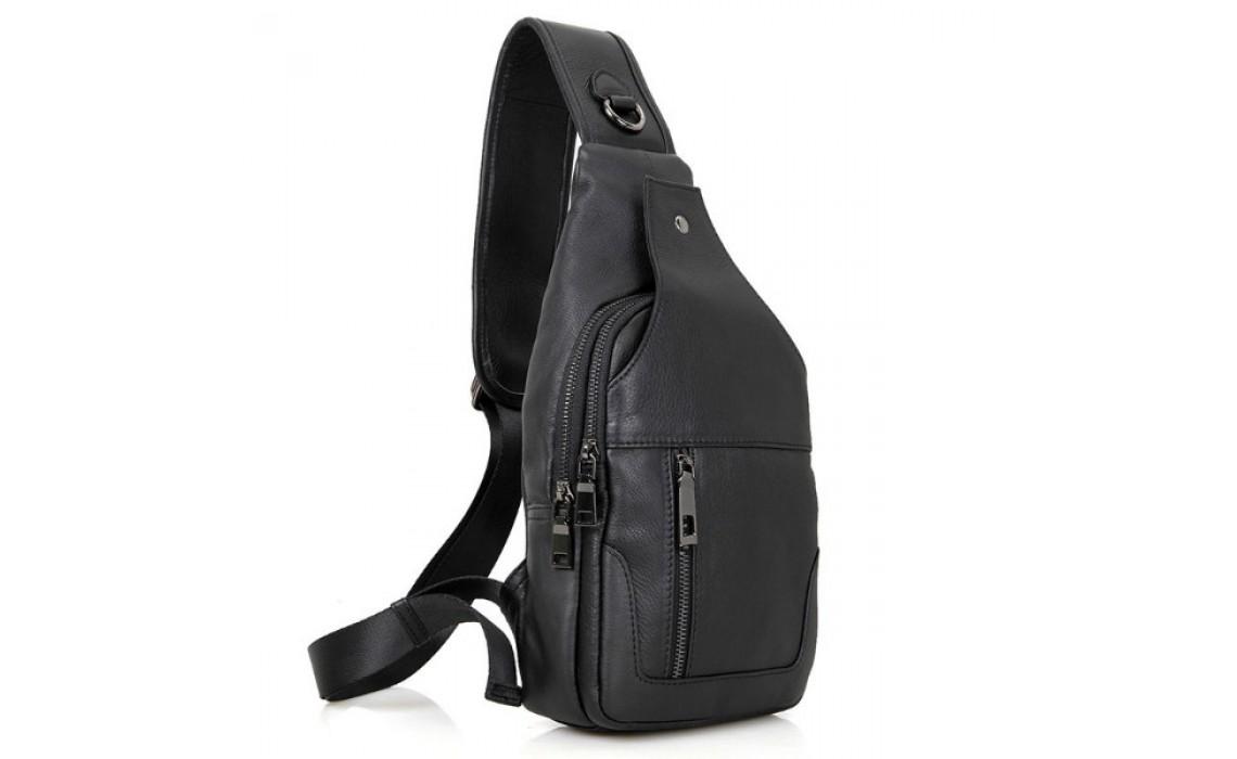 Кожаный рюкзак на одну шлейку. Хит 2017 года