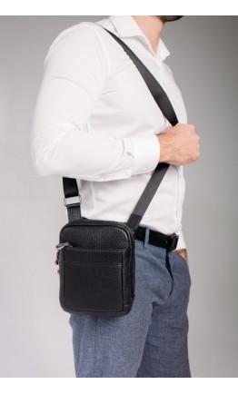 Черная мужская кожаная сумка на плечо Tavinchi S-001A