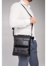 Черная кожаная мужская сумка на плечо Tavinchi S-009A