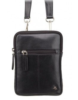 Маленькая кожаная черная мужская сумка Visconti S10 Remi (Black)