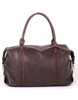 Кожаная коричневая вместительная сумка для командировок s1brown