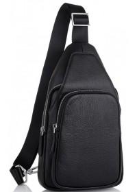 Слинг мужской черный кожаный Tiding Bag SM-681A