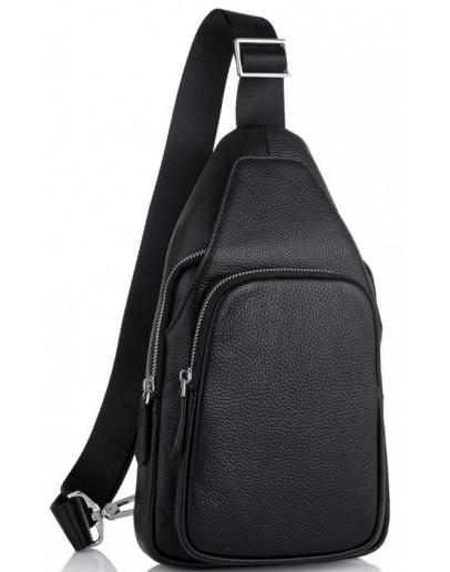 Фотография Слинг мужской черный кожаный Tiding Bag SM-681A