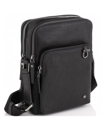 Фотография Черная сумка мужская кожаная на плечо Tiding Bag SM13-0014A