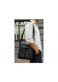 Черная кожаная сумка на плечо Tiding SM8-008A