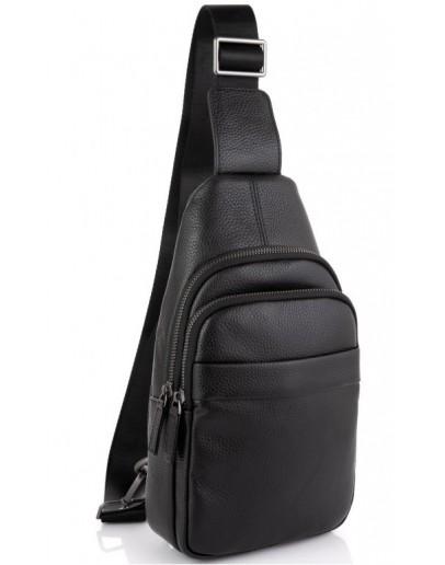 Фотография Черная сумка кожаная слинг Tiding Bag SM8-015A