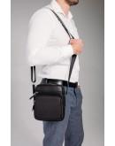 Фотография Черная мужская кожаная сумка на плечо Tiding Bag SM8-1022A