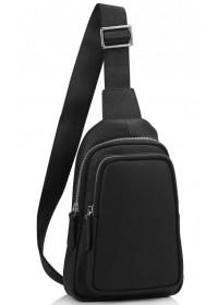 Слинг кожаный мужской черный Tiding Bag SM8-356A
