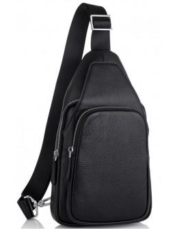 Слинг кожаный мужской черный Tiding Bag SM8-681A