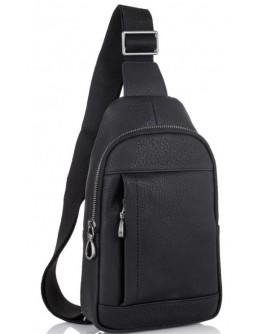 Слинг кожаный мужской черный Tiding Bag SM8-827A