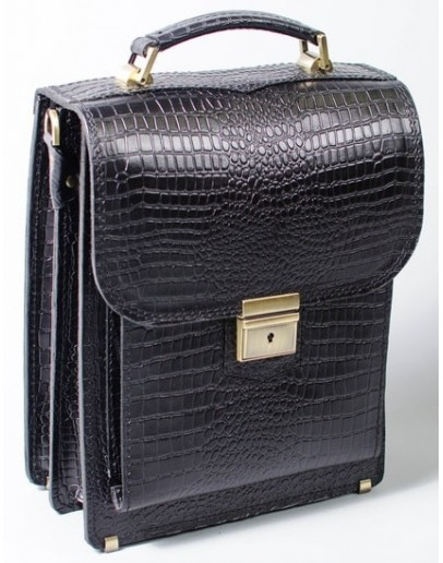 Фотография Мужская кожаная сумка черная формата А4 Manufatto spb2-crocoblack