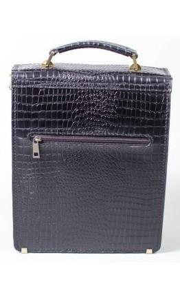 Мужская кожаная сумка черная формата А4 Manufatto spb2-crocoblack
