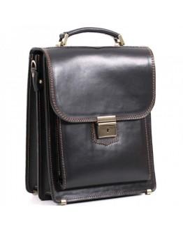 Черная кожаная мужская сумка-барсетка с коричневой нитью Manufatto spb2-glbr