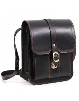 Черная кожаная сумка на плечо с коричневой ниткой Manufatto spb3-blackbr