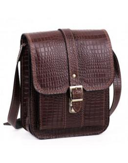 Мужская коричневая сумка на плечо Manufatto spb3-brown-croco