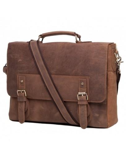 Фотография Кожаный мужской коричневый портфель t0002
