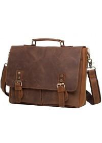 Мужской портфель кожаный коричневый t0003