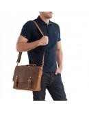 Фотография Мужской портфель кожаный коричневый t0003