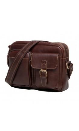 Кожаная сумка мужская коричневая на плечо t0008