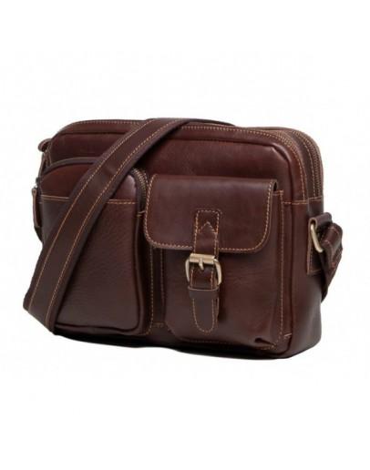 Фотография Кожаная сумка мужская коричневая на плечо t0008