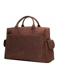 Кожаная сумка коричневая для командировок t0009