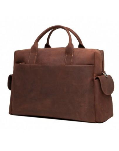 Фотография Кожаная сумка коричневая для командировок t0009